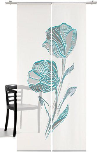 Schiebegardine »Strichblume«, emotion textiles, Klettband (2 Stück), HxB: 260x60, mit Befestigungszubehör