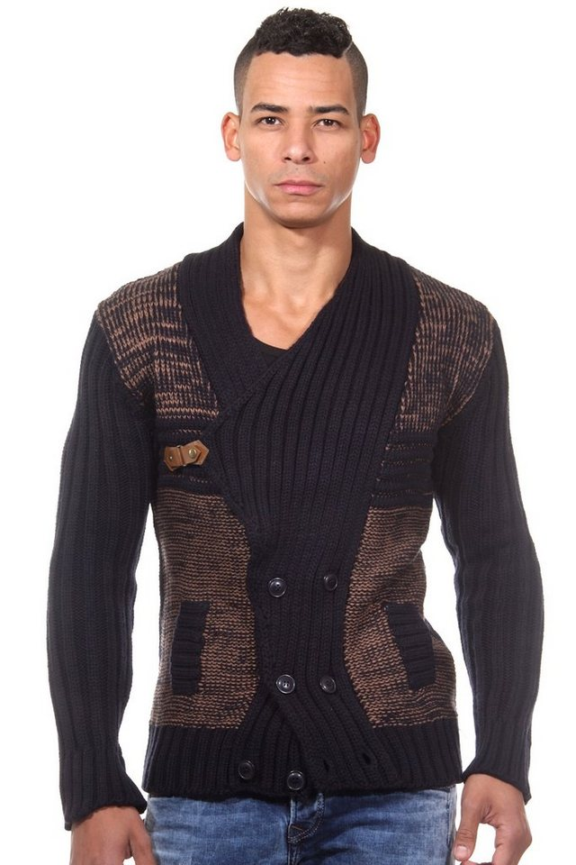 R-NEAL Strickcardigan slim fit in navy/camel