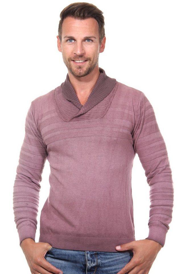 R-NEAL Pullover Schalkragen slim fit in bordeaux