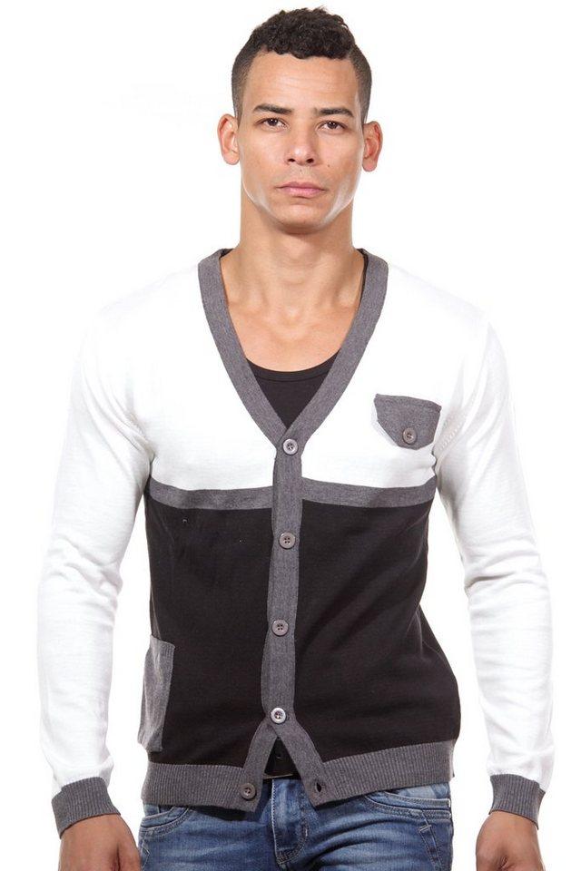 R-NEAL Cardigan slim fit in weiss/schwarz
