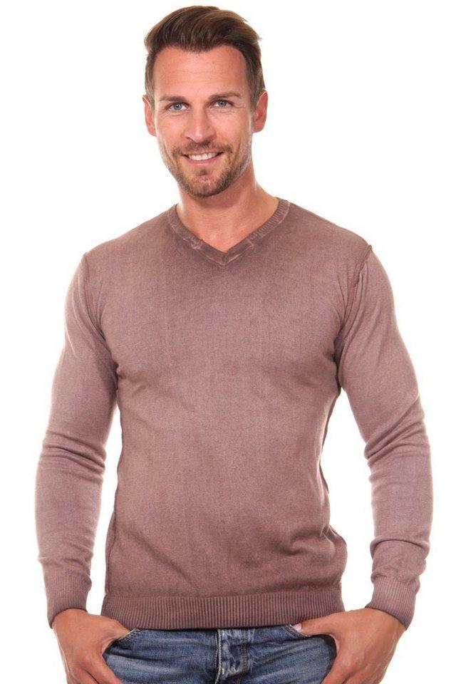 R-NEAL Pullover V-Ausschnitt regular fit in braun