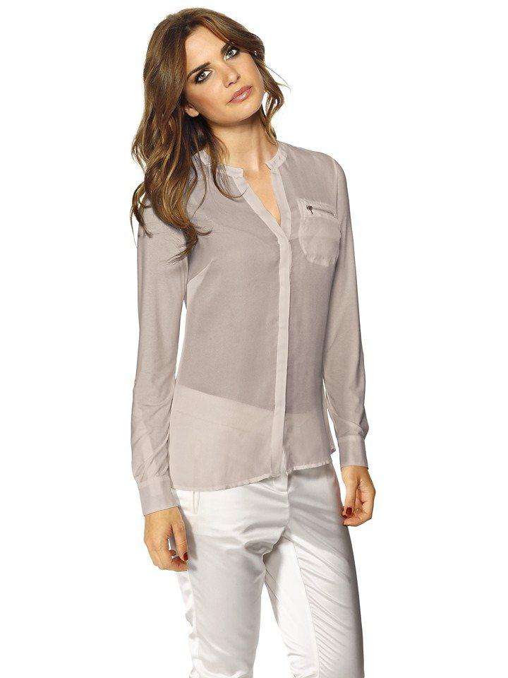 Shirtbluse in taupe