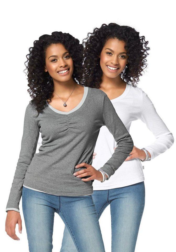 Boysen's Langarmshirt mit Raffung (Packung, 2er-Pack) in grau-meliert+weiß