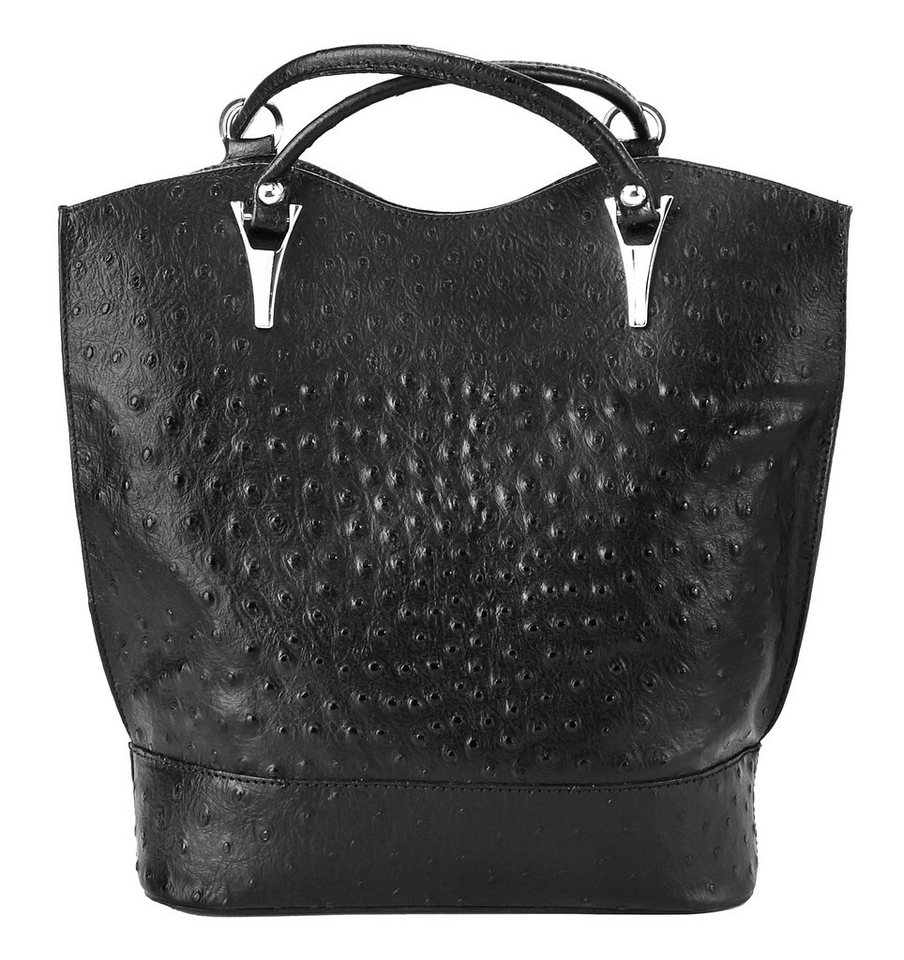 Cluty Leder Damen Rucksacktasche/Schultertasche Straußenprägung in schwarz