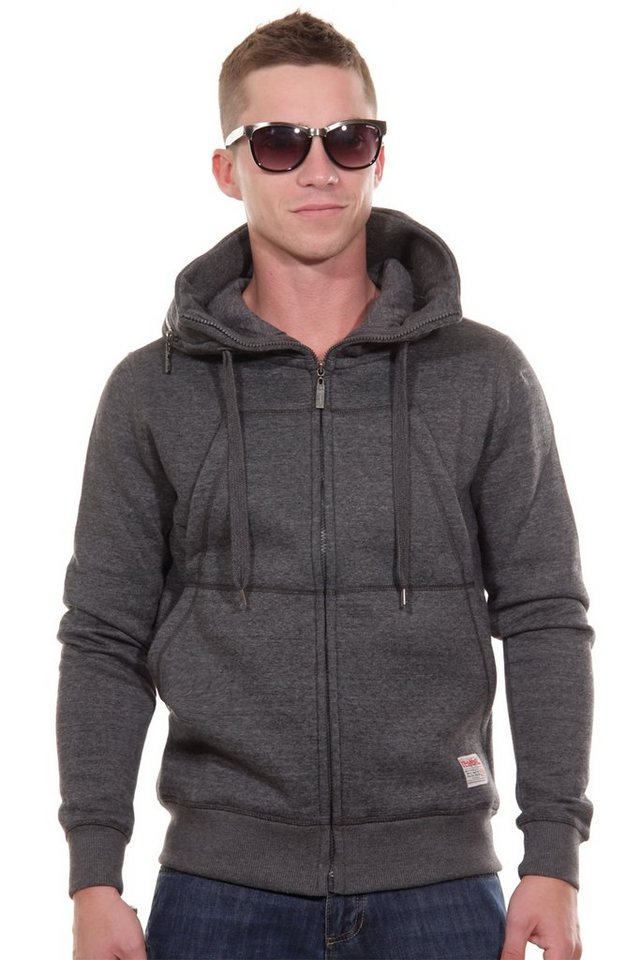 R-NEAL Kapuzensweatjacke slim fit in anthrazit