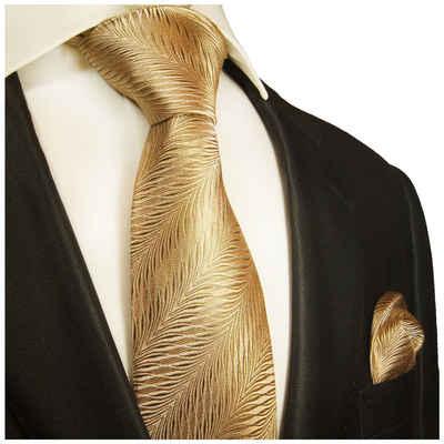 Paul Malone Krawatte »Herren Seidenkrawatte mit Tuch Schlips modern gestreift 100% Seide« (Set, 2-St., Krawatte mit Einstecktuch) Breit (8cm), gold 2012