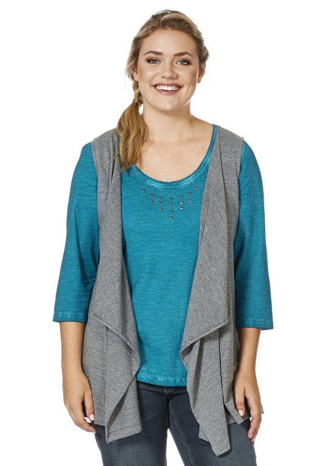 sheego Casual Shirtweste in Zipfelform in grau melange