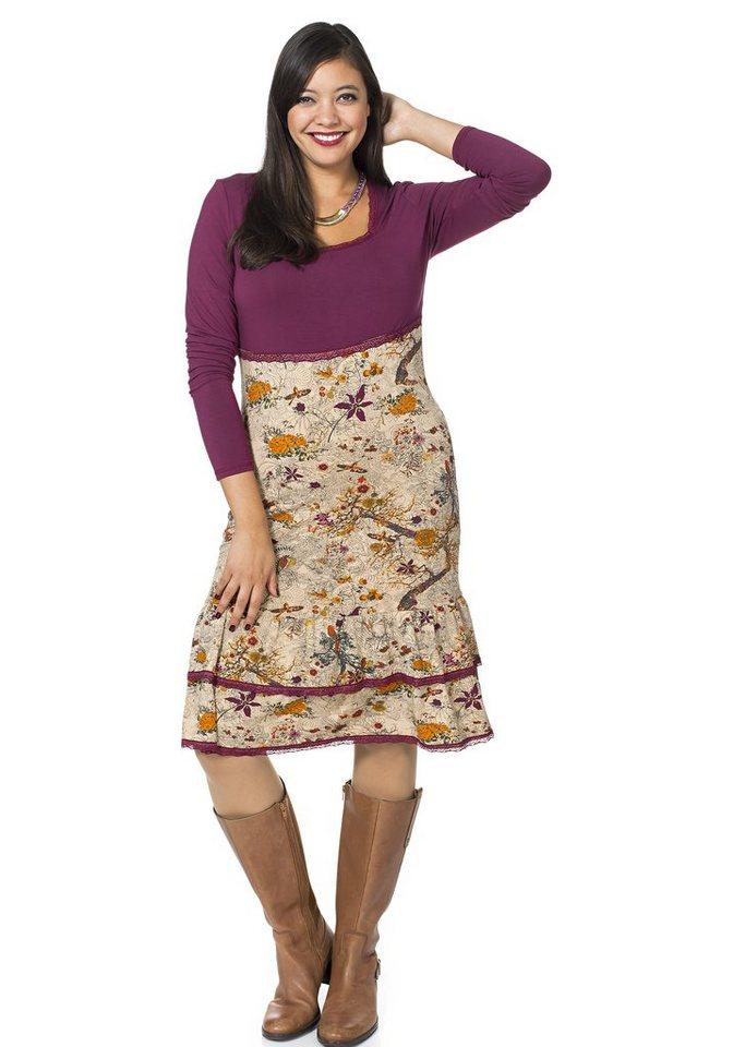 sheego Style Jerseykleid mit floralem Print in camelfarben-beere