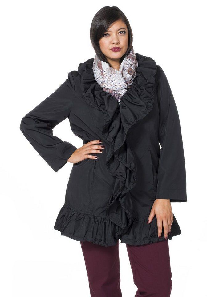 sheego Style Longjacke mit Rüschenvolants in schwarz