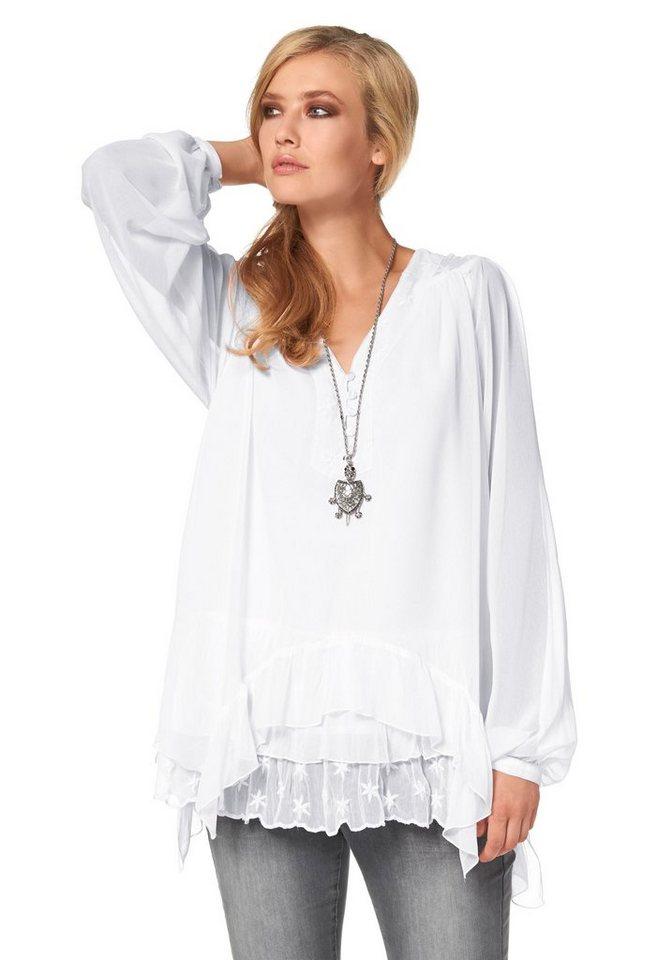 Aniston Crinklebluse mit Sternchenstickerei in weiß