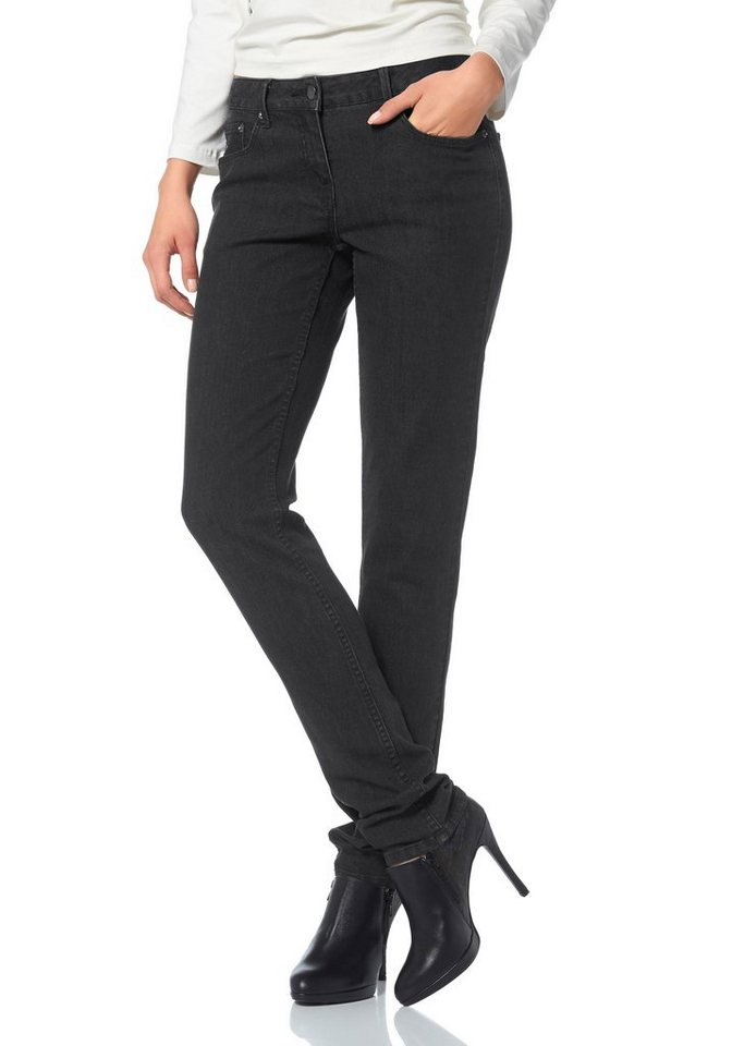 Aniston 5-Pocket-Jeans in leichter Used-Waschung in schwarz