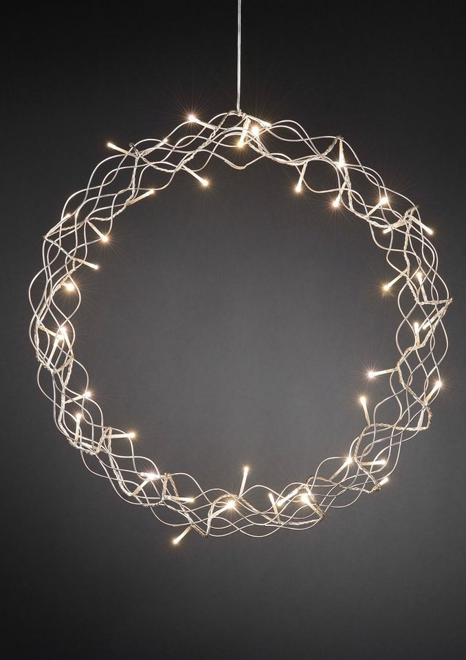 LED Metallsilhouette, »Kranz«, Konstsmide in silberfarben