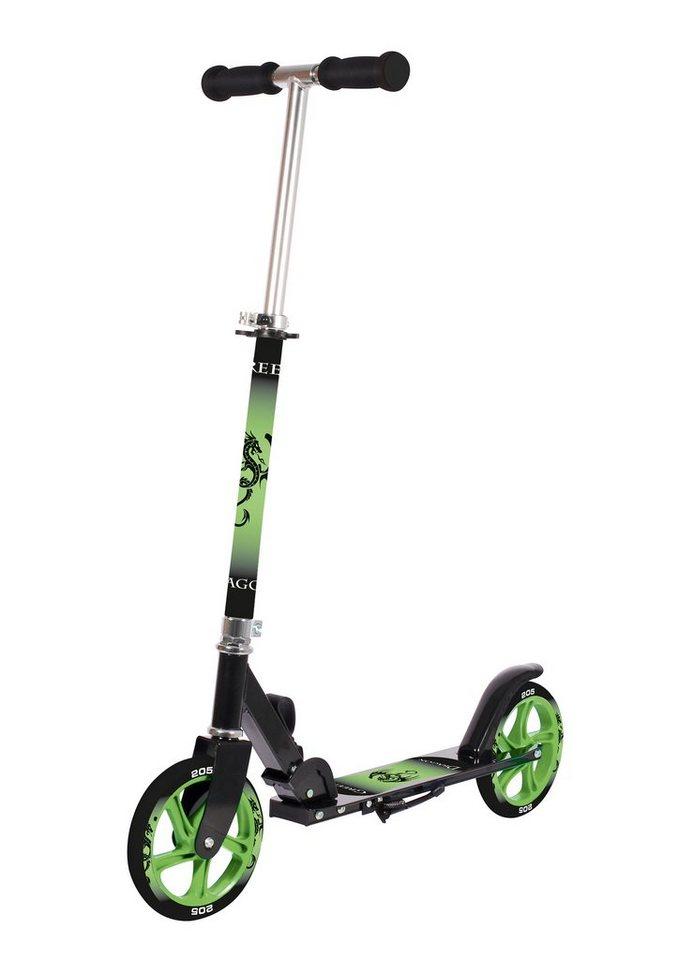 Alu-Cityroller, schwarz-grün, »Green Dragon«, Hudora in schwarz-grün