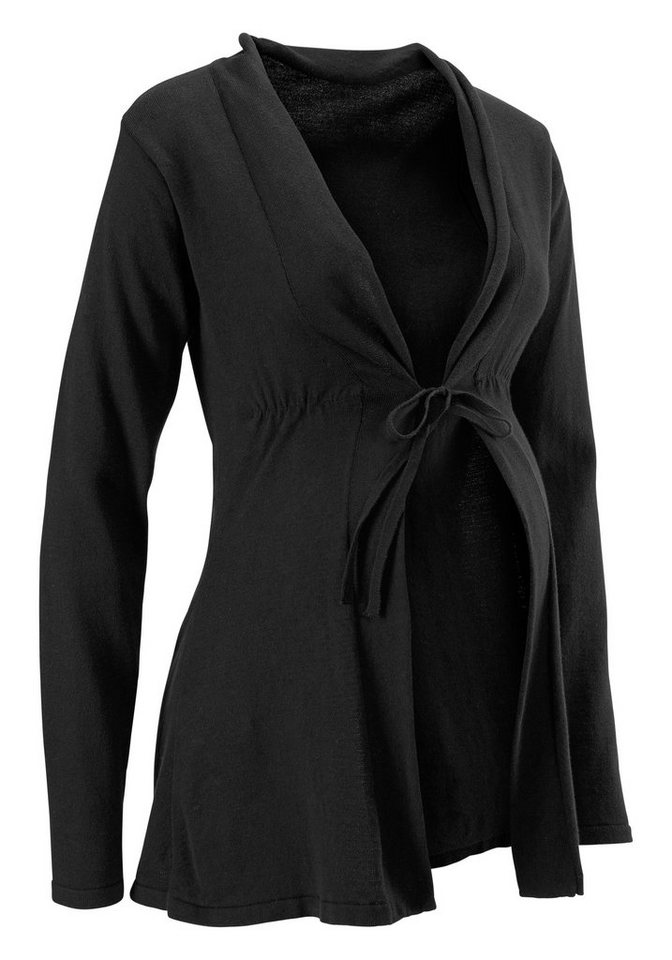 Umstandsstrickjacke Cardigan mit Bindeband schwarz