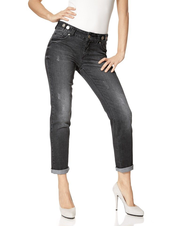 Boyfriend-Jeans in black denim