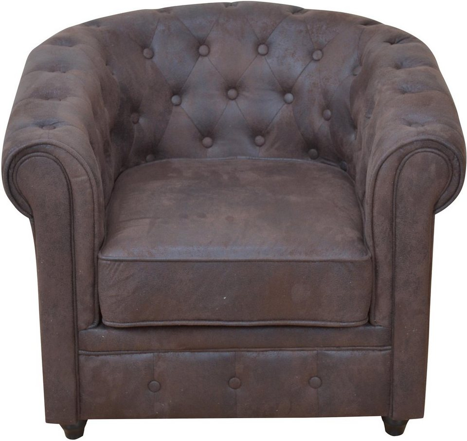 Home affaire, Sessel, mit Chesterfield Knopfsteppung in braun