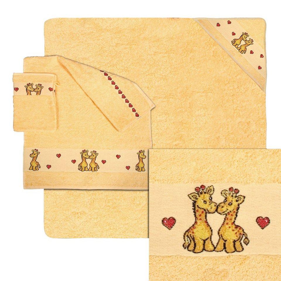 Kapuzenhandtuch, Dyckhoff, »Bobo«, mit Giraffen und Herzen in gelb