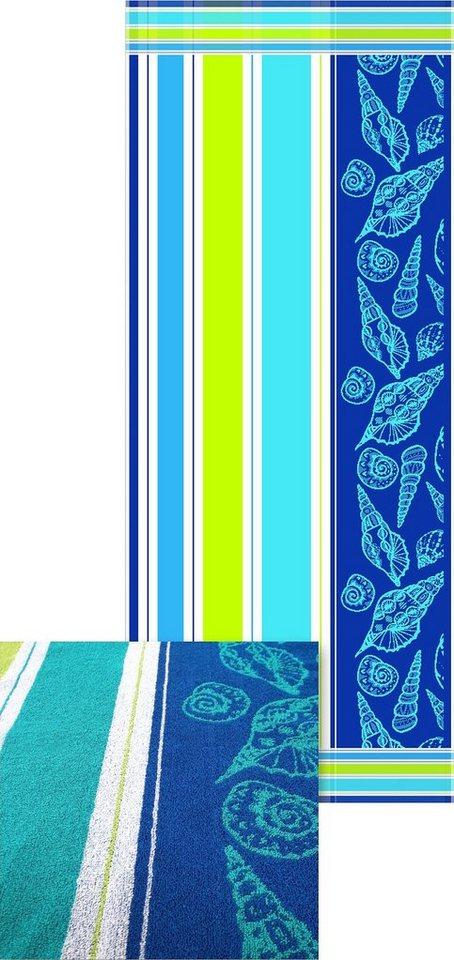 Strandtuch, Dyckhoff, »Muschel«, mit Muschelmotiven in blau
