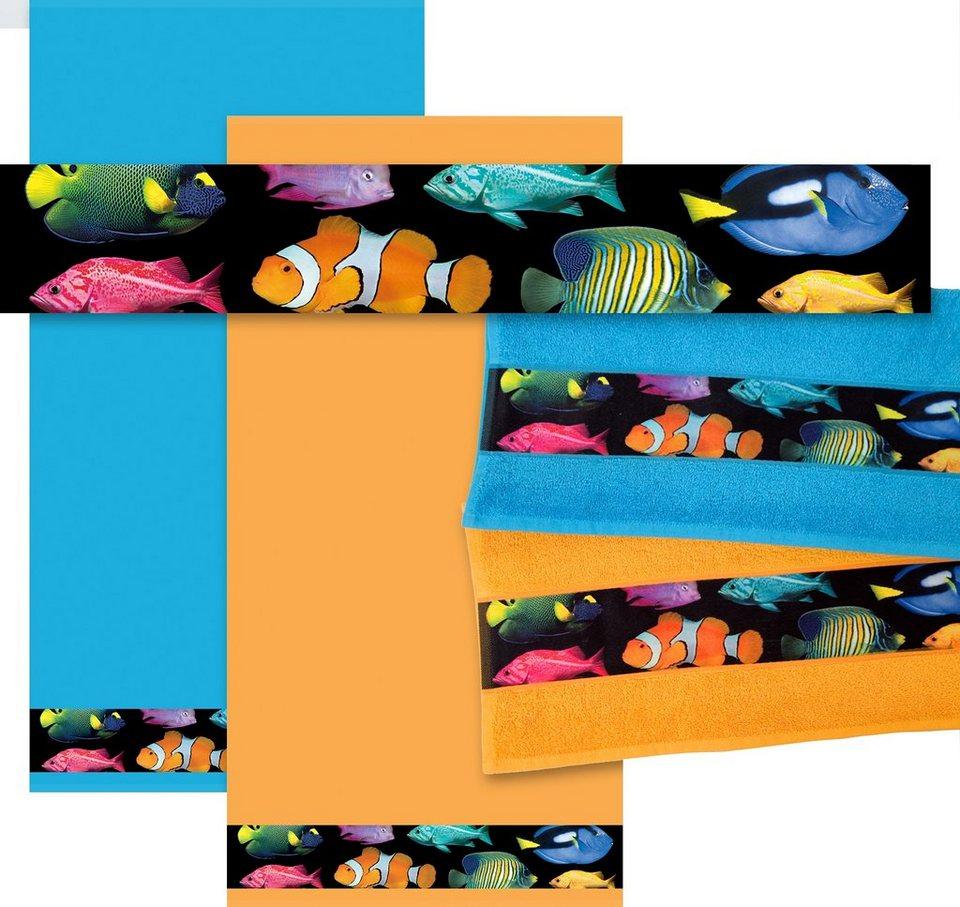Badetuch, Dyckhoff, »Fische«, Bordüre mit Fischen in sonne
