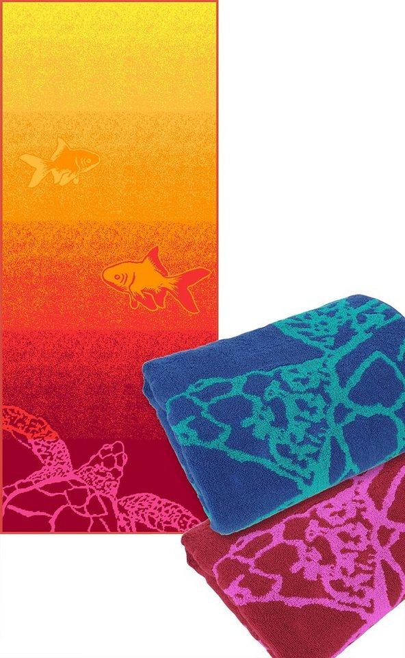 Strandtuch, Dyckhoff, »Meer«, mit Meerestieren in orange