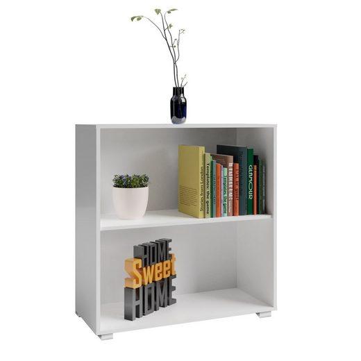 Deuba Bücherregal »Vela«, Bücherregal • Höhenverstellbarer Einlegeboden • Standfüße in Alu-Optik • modernes Design • Kippsicherung zur Wandmontage • 2 Fächer