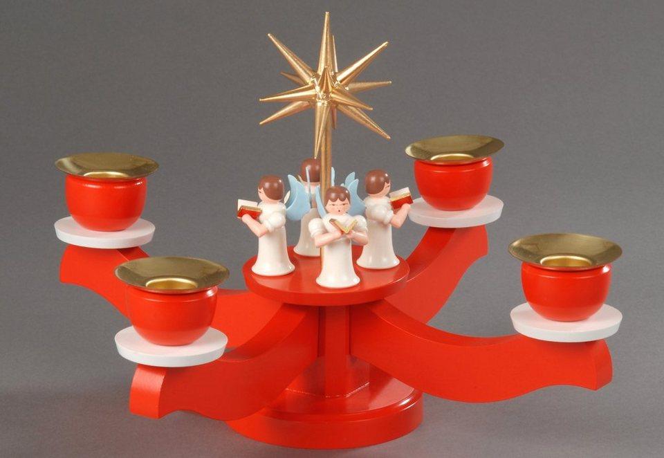 Adventsleuchter mit 4 stehenden Engel, Albin Preißler in rot