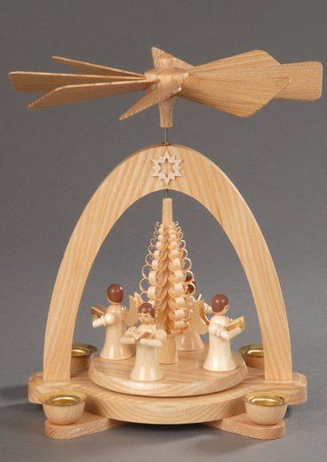 Albin Preissler Weihnachtspyramide »4 Engel mit Spanbaum«, Made in Germany