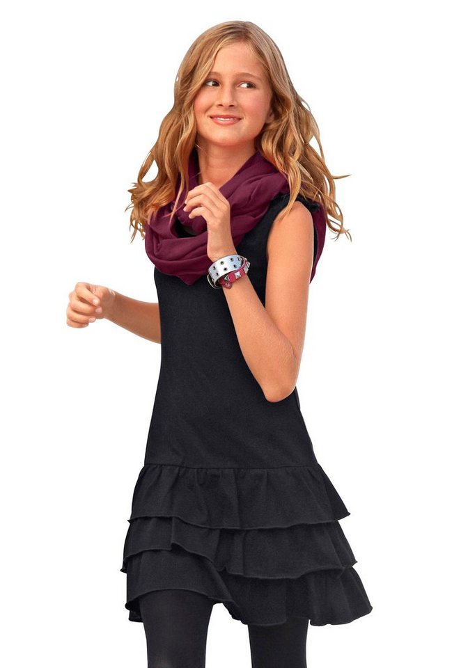 CFL Jerseykleid mit Volants in schwarz