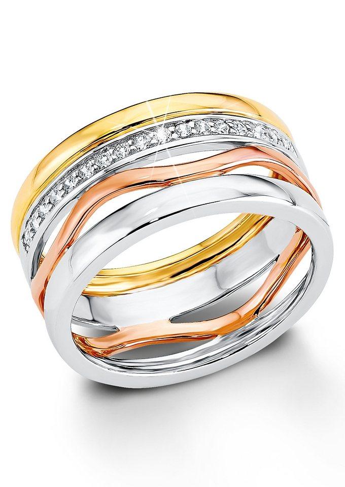 Ring, »SO1184/1-4«, s.Oliver in Silber 925/teilw. gold- und roségoldfarben