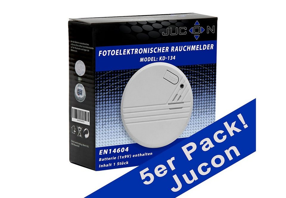 Rauchmelder, Jucon (5er Set) in weiß