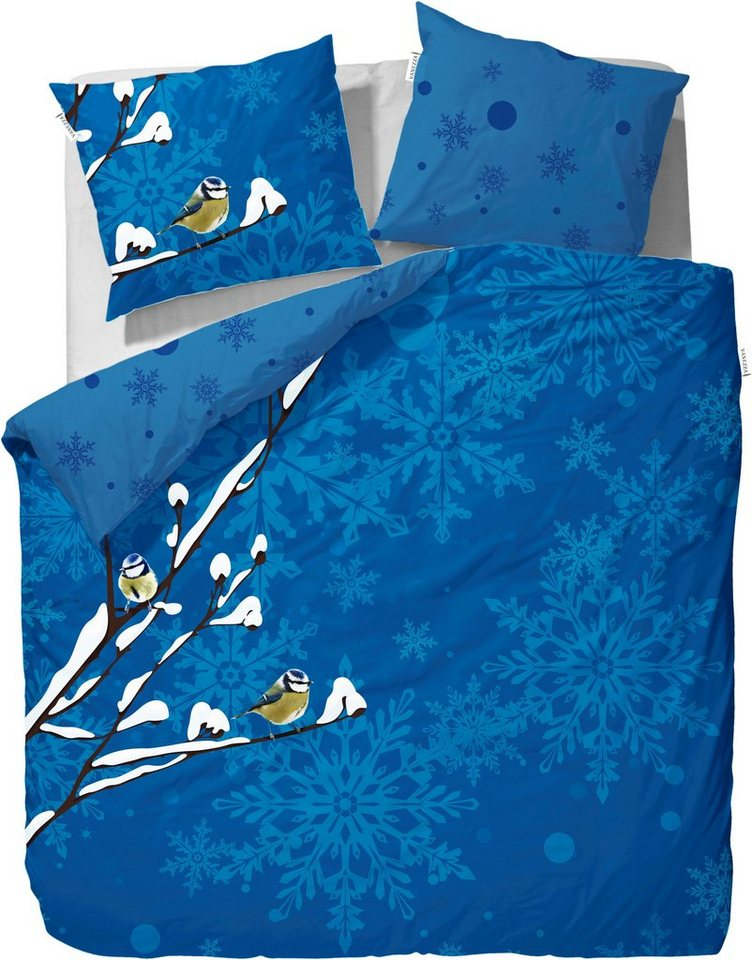 Wendebettwäsche, Vanezza, »Fledger«, winterliches Design in blau