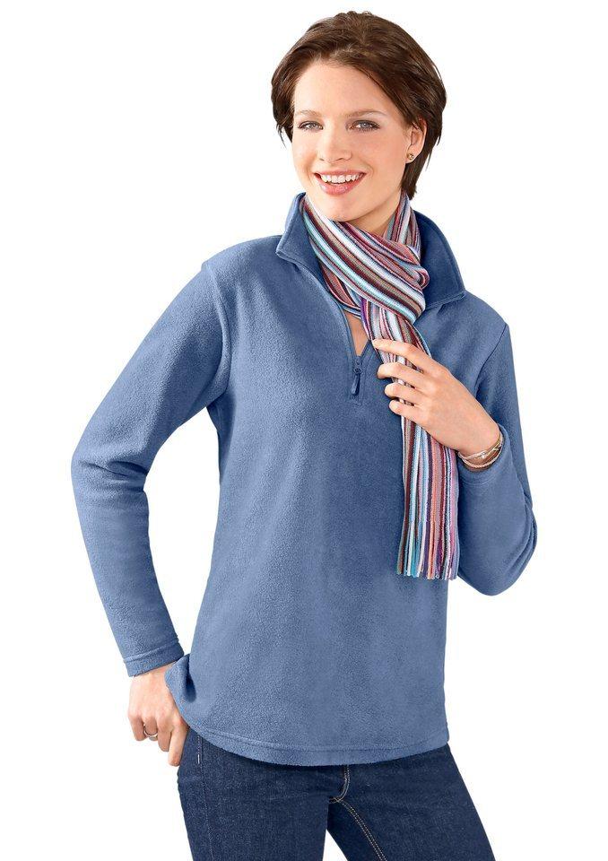 Classic Basics Fleece-Shirt flauschig und wunderbar pflegeleicht in blau-meliert