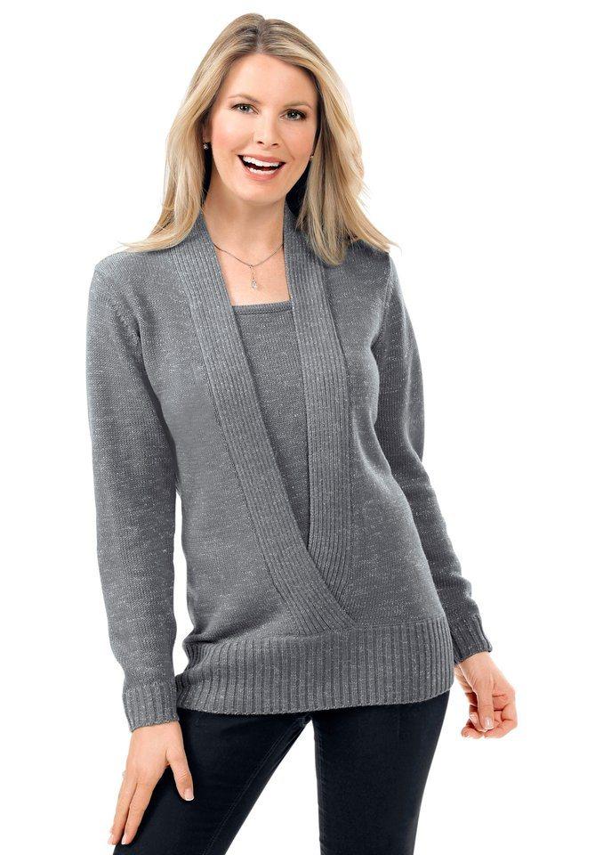 Classic Basics Pullover mit Schalkragen-Optik in grau-meliert