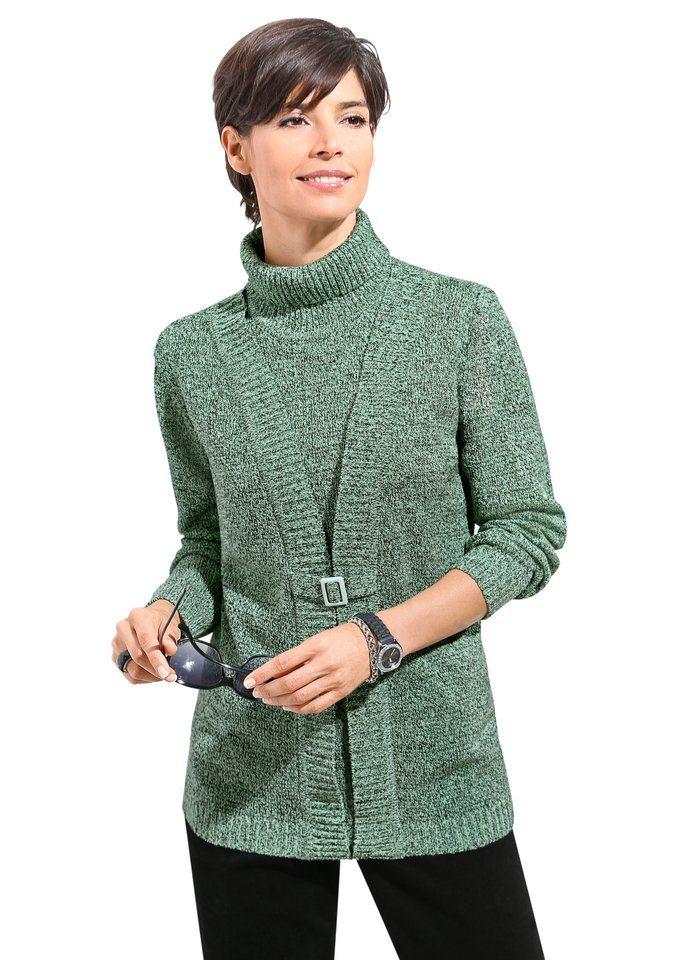 Classic Basics Pullover in 2-in-1-Optik in grün-meliert