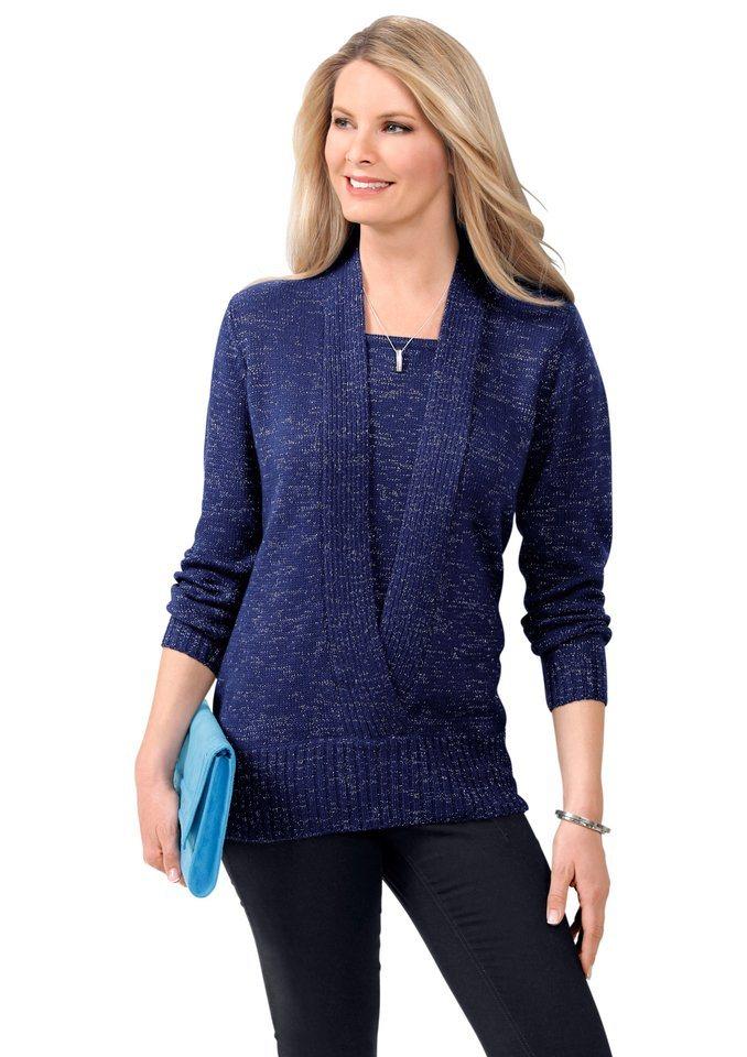 Classic Basics Pullover mit Schalkragen-Optik in blau-meliert