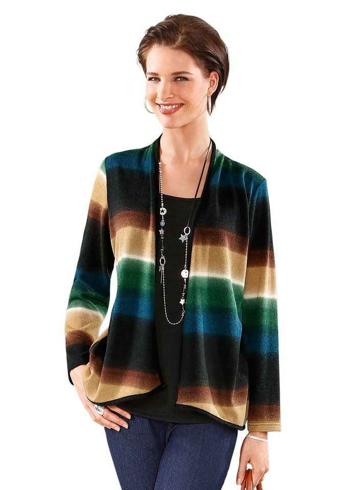 Classic Basics Pullover mit kaschierendem Zipfelsaum in bunt-gestreift