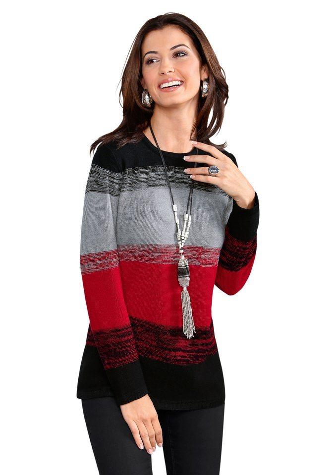 Classic Basics Pullover mit klassischem Rundhals-Ausschnitt in schwarz-rot-gestreift