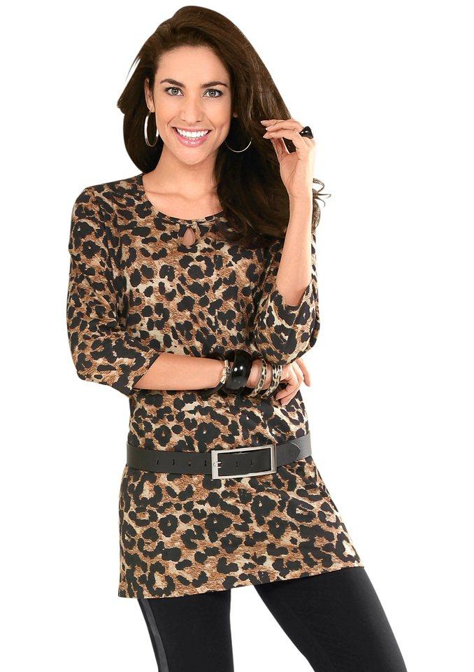 Classic Basics Longshirt mit dekorativem Rundhals-Ausschnitt in camel-bedruckt