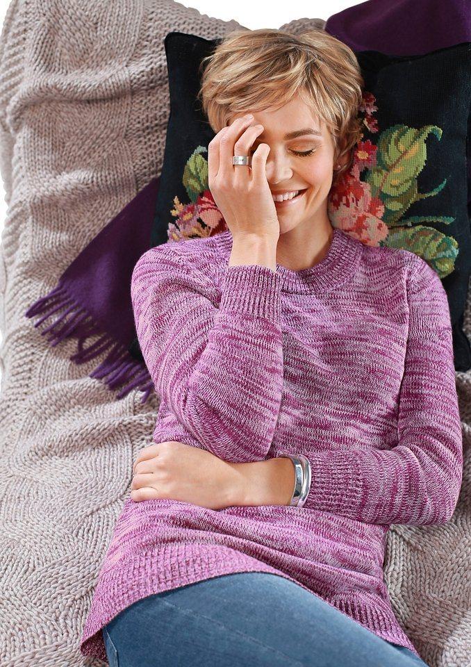 Classic Basics Pullover mit Stehkragen in fuchsia-meliert