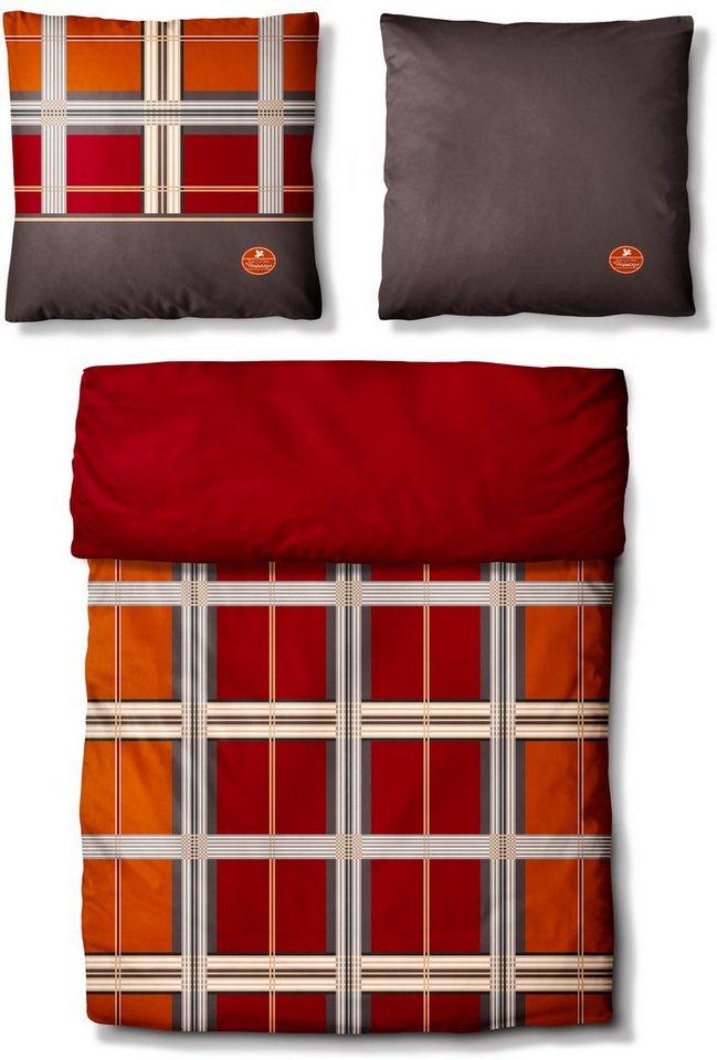 Wendebettwäsche, Auro Hometextile, »Braxton«, im Karo-Design in rot