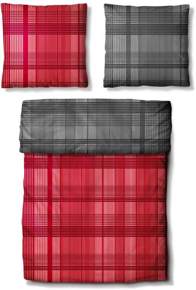 Wendebettwäsche, Auro Hometextile, »Twin Set«, Karos mit Wendeseite in rot-grau