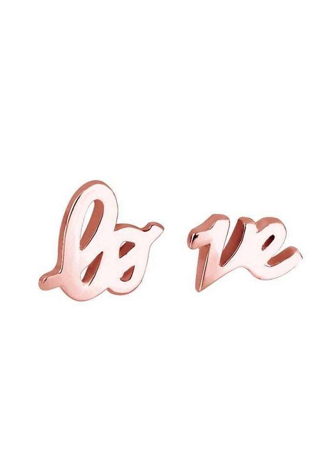 Elli Ohrringe »ROSÉGOLD Love-Schriftzug« in Rosegold