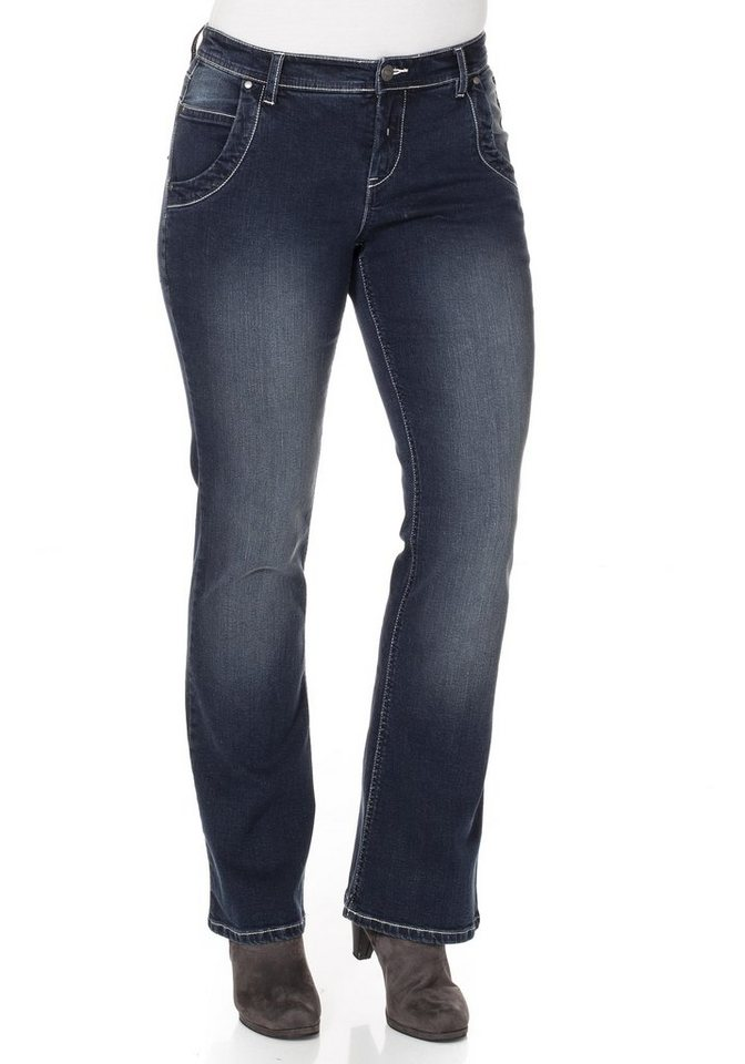 sheego Denim Bootcut-Stretch-Jeans in blue Denim