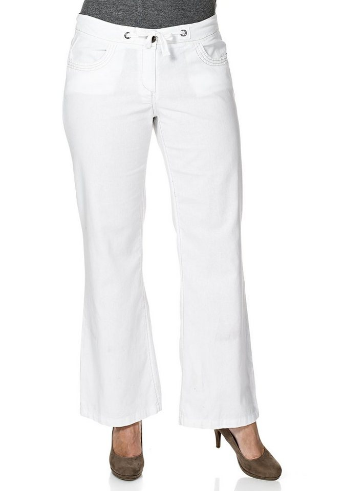 sheego Casual Weite Leinen-Hose in weiß