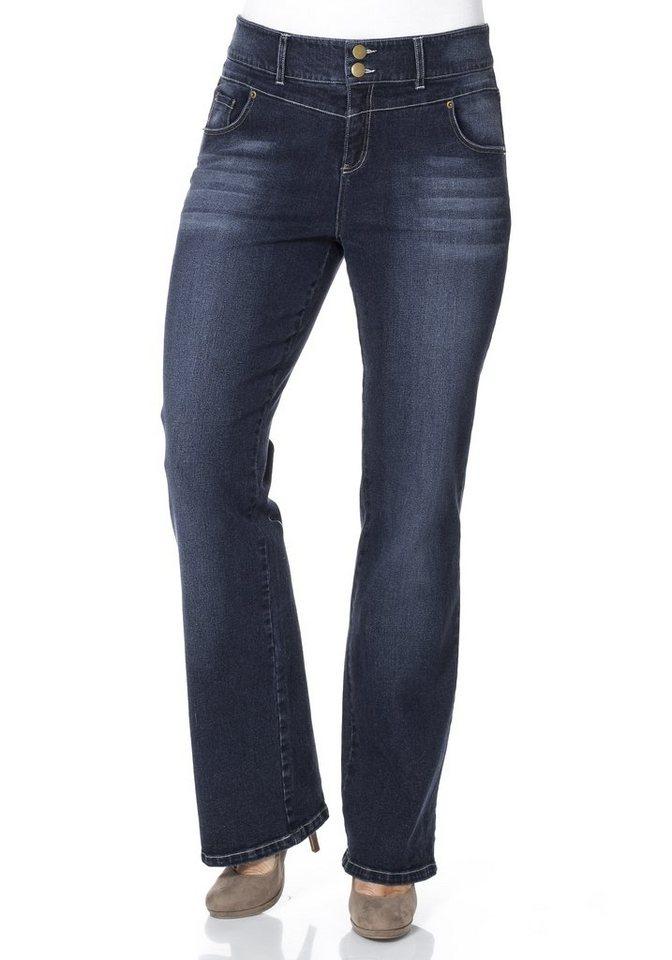 sheego Denim Bootcut-Stretch-Jeans mit hoher Leibhöhe in dark blue Denim