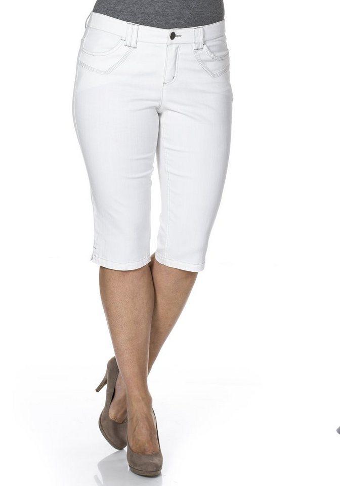 sheego Denim Schmale Stretch-Jeans-Capri in weiß