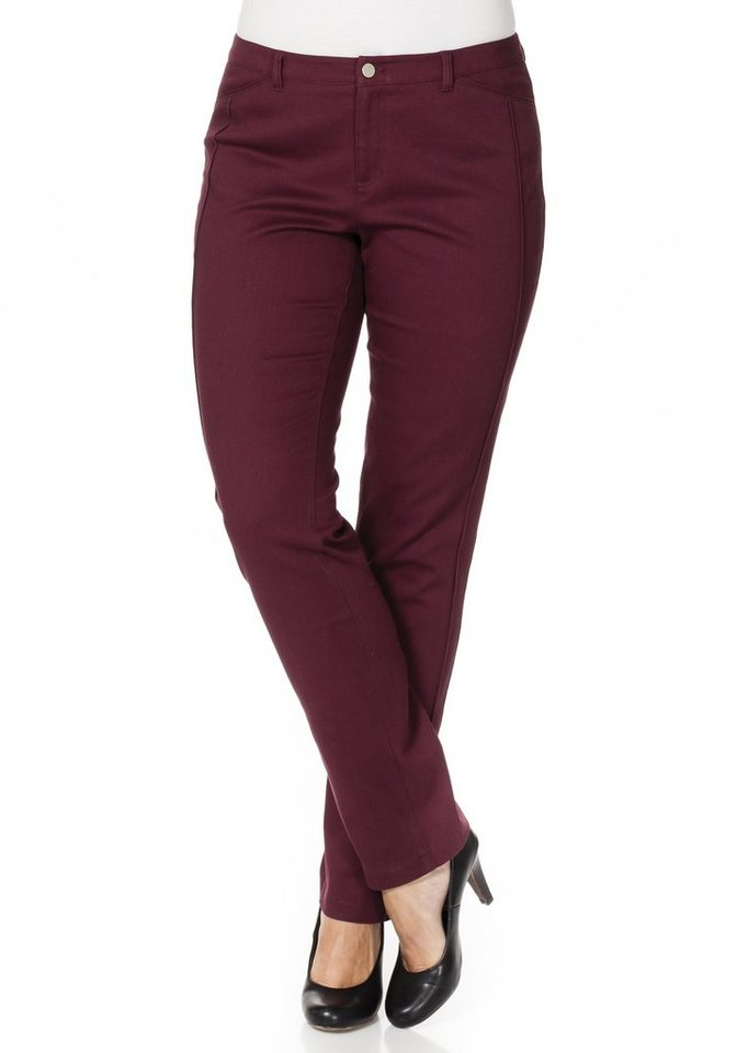 sheego Style Schmale Stretch-Hose in bordeaux