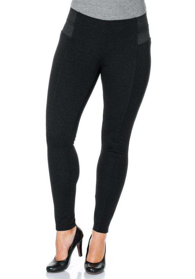 sheego Style Schmale Stretch-Jersey-Hose in schwarz