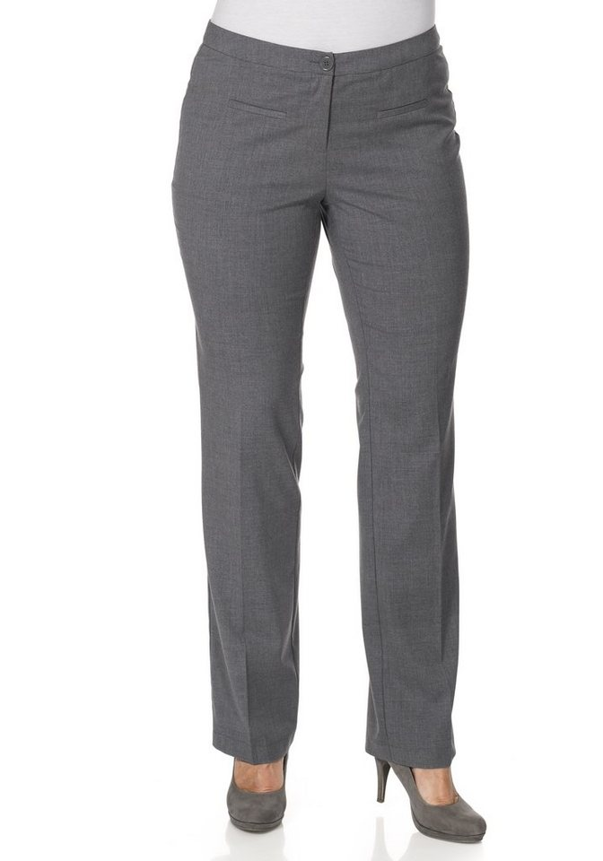 sheego Style Gerade Stretch-Hose in grau meliert