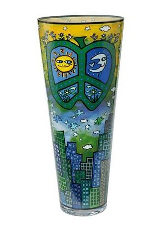 Vase, »Peace, Love and Flowers«, Goebel in bunt